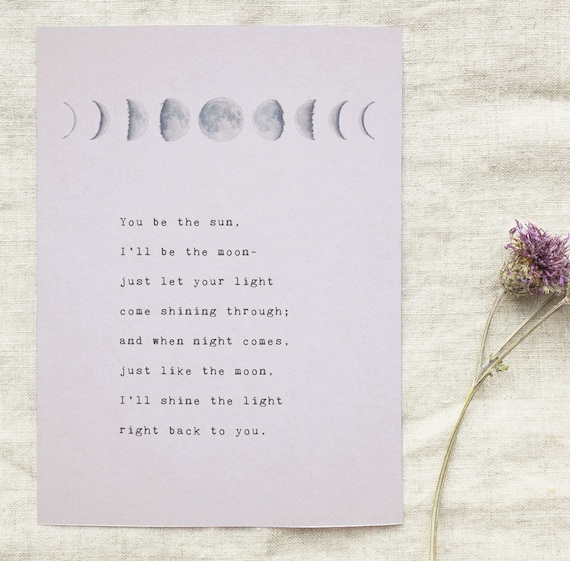 Love Poem You Be The Sun Ill Be The Moon Phases Of The Moon Etsy