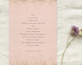 Langston Hughes, Helen Keller poem, she in the dark found light, typewriter poetry, poetry print, gift for her, wall art, dorm art