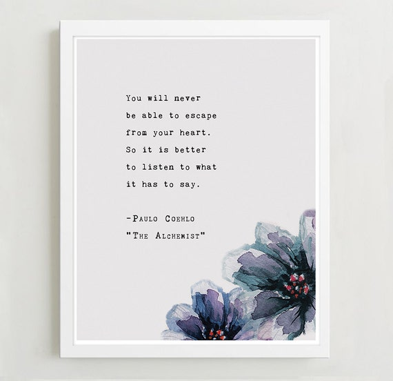 Paulo Coelho From The Alchemist Quote Poster Etsy