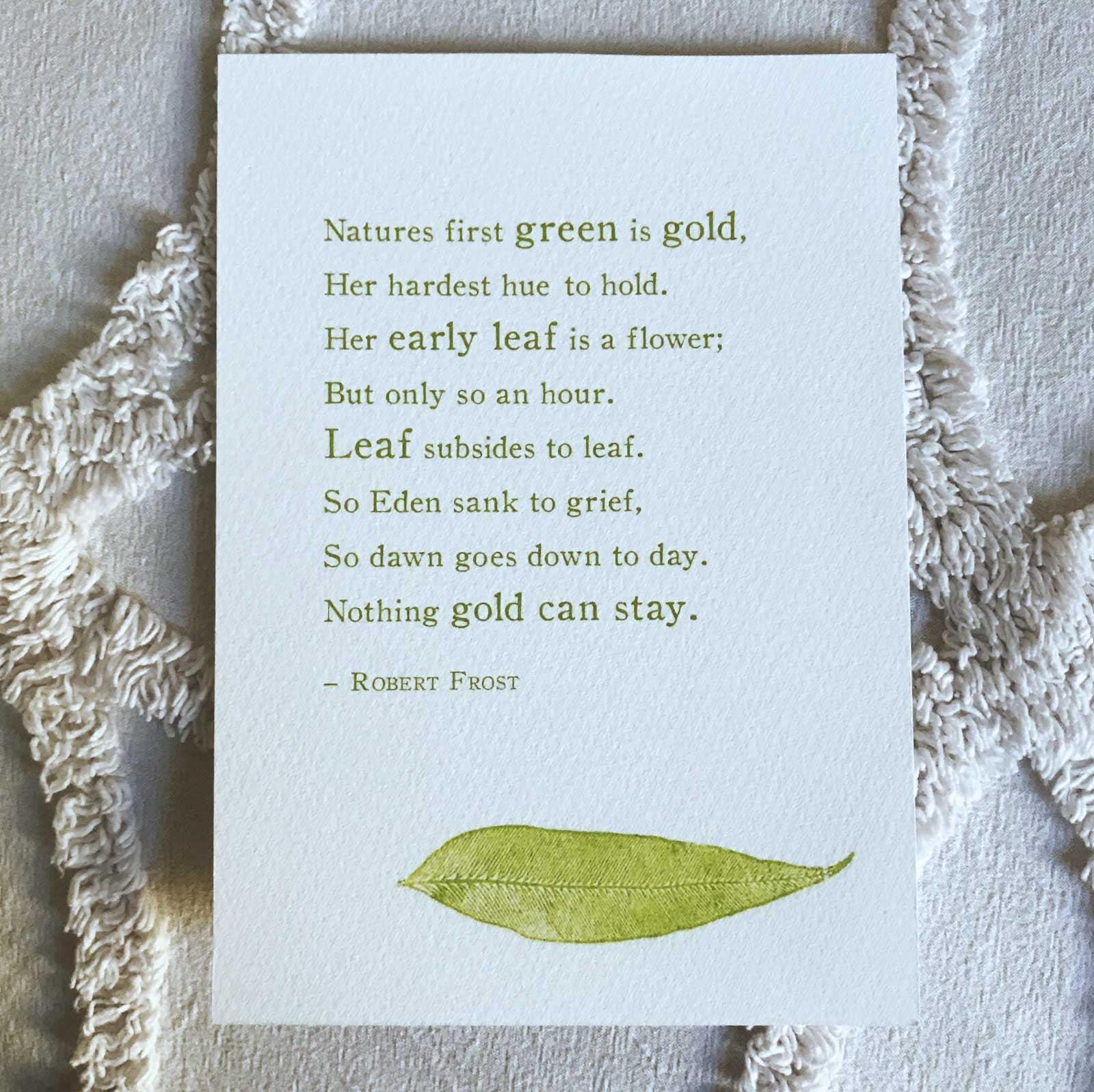 Robert Frost nichts Gold kann bleiben Poesie Geschenk für | Etsy