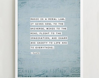 """Plato quote """"music is a moral law"""" poster, inspirational quote, gifts for musicians, quote art, poetry print"""