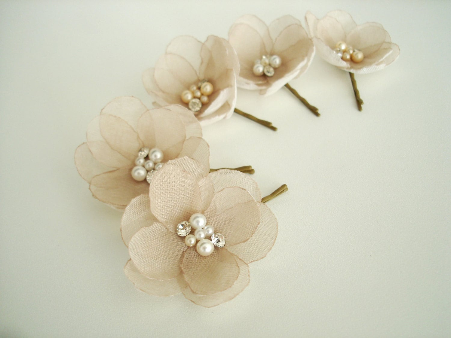 Champagne flower wedding hair pins bridal hair flowers etsy zoom izmirmasajfo