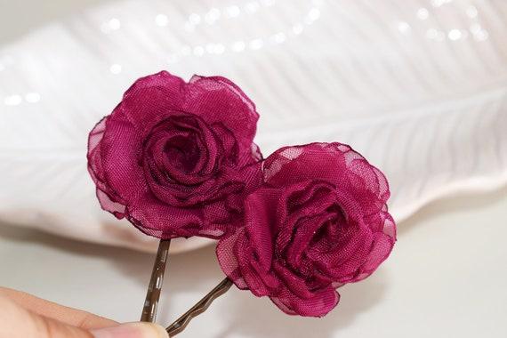 fuchsia hair clip hair bobby pins bridesmaid accessory shoe clips Magenta hair flower brooch wedding fuchsia and silver colour scheme