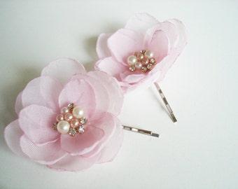 Flower Girl Hair Clips,  Wedding Hair Pins,  Pink Flower Bobby Pin, Wedding Hair Accessories Floral Hair Piece