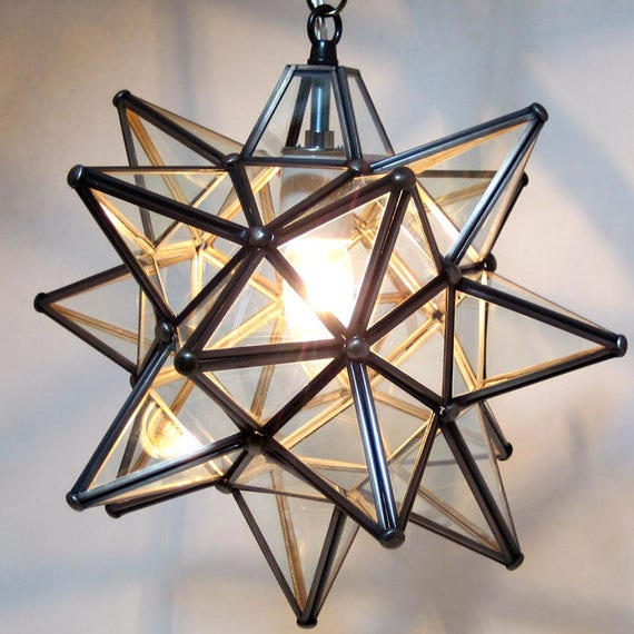 Moravian Star Pendant Light Clear Glass 12
