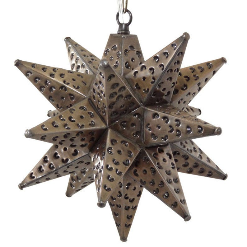 Moravian Star Light, Flower Pierced Tin, Bronze, 12
