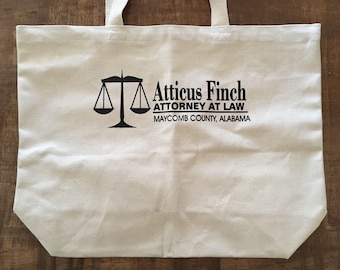 Atticus Finch Attorney at Law Canvas Tote or Book Bag - English Teacher or Librarian Gift Back to School Literature Lawyers Students