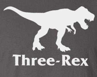"""Turning 3 Dinosaur Birthday Party - """"Three-Rex"""" Toddler T-Shirt Son's or Daughter's 3rd Birthday Tee Gift for Three Year Old Boys Girls"""