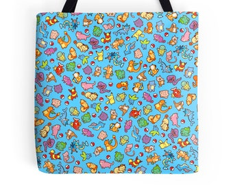 Chibi Pokemon Pattern ~ Pokemon ~ Polyester Premium Tote Bag