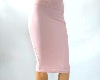 Blush Pencil skirt Bodycon Stretch choose color Muted tones