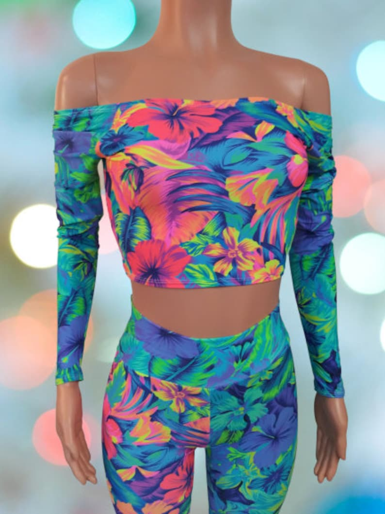 Long sleeve Off the shoulder top and High waisted Leggings Tahitian floral Neon and blues Festival EDC