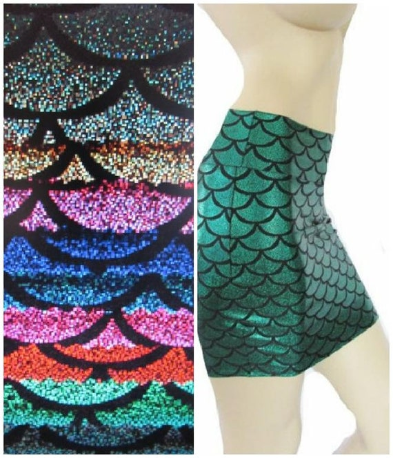 Mermaid skirt Green scales stretch Fabric fit flare Spandex fabric party skirt