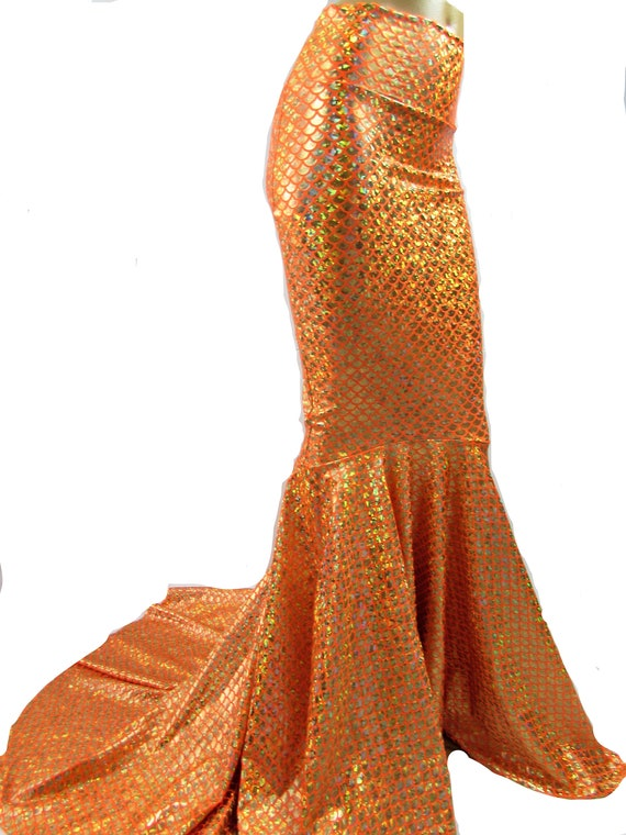 magasin en ligne 89e3a 43dc2 Orange sirène jupe poisson queue costume Daryl Hanna Splash, Stretch Lycra,  fée Circle skirt, jupe métallique