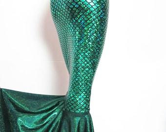 Green Mermaid skirt High waist Stretch Scales print Kim K skirt EDC EDM Rave Festival Costume Party Zanza Designs Clothing