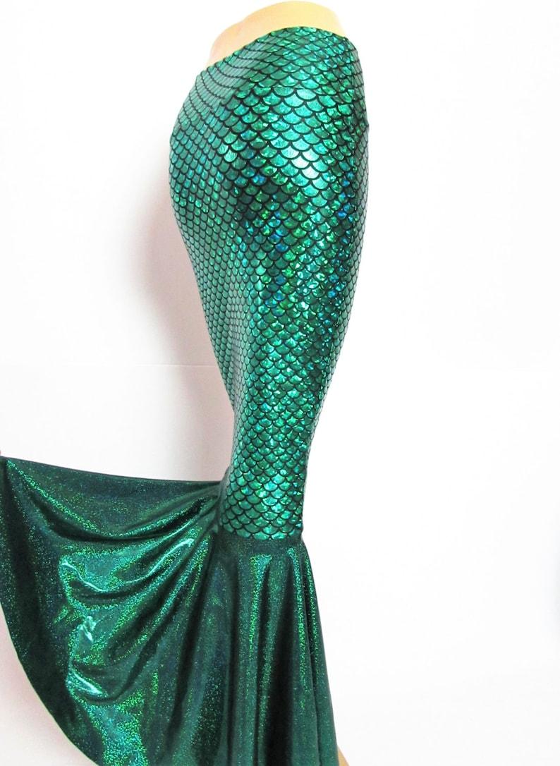 Green Mermaid skirt High waist Stretch Scales print Kim K image 1