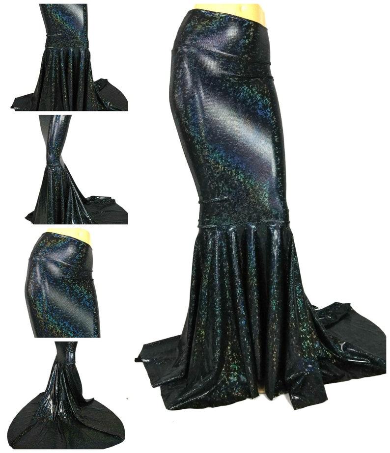 Black shattered glass  Mermaid Skirt Fish tail costume Fairy Circle skirt Festival Dance EDM
