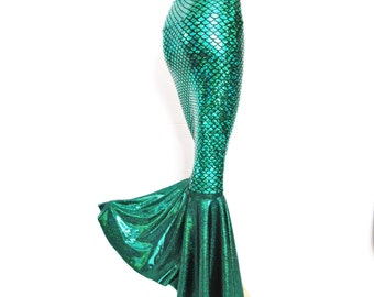 Green Mermaid skirt  Stretch Scales print Costume Party Zanza Designs Clothing