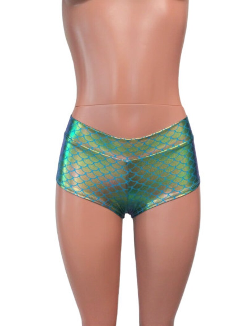 17 Mermaid Colors Holographic Rave bottoms Low waist booty shorts Mermaid print pole shorts Festival EDC Clubwear