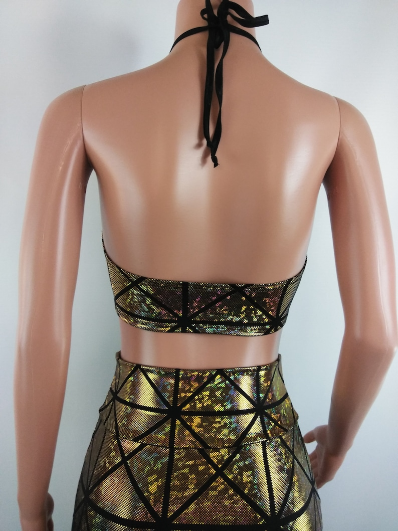 99c4428b2ed Black & Gold Crop top Shattered glass Peekaboo top | Etsy