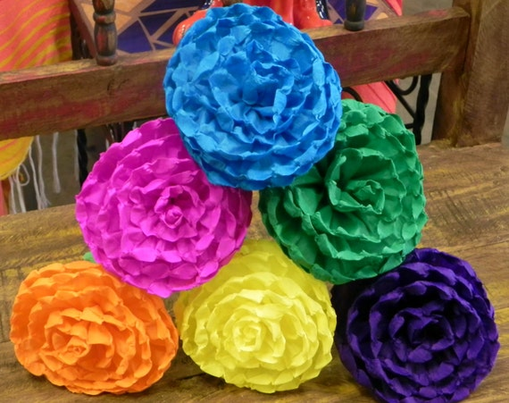 Mexican paper flowers set of 6 multicolor we make etsy image 0 mightylinksfo