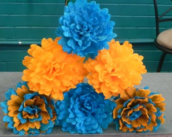 """Mexican Crepe Paper Flowers Set of 6 Orange And Turquoise """"Carmens""""  Hand Made by Julia"""