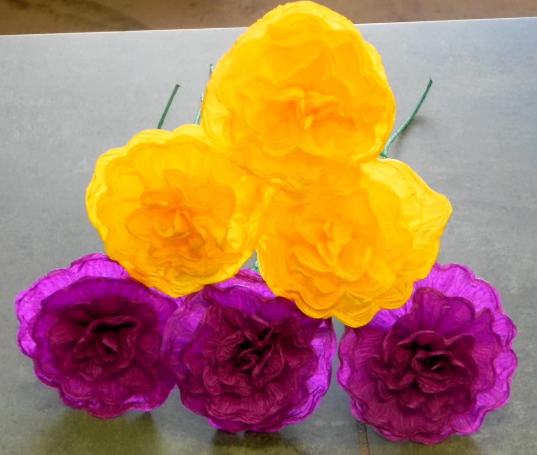 "Crepe Paper Flowers Set of 6-Multicolor  /""We Make Special Orders/"""