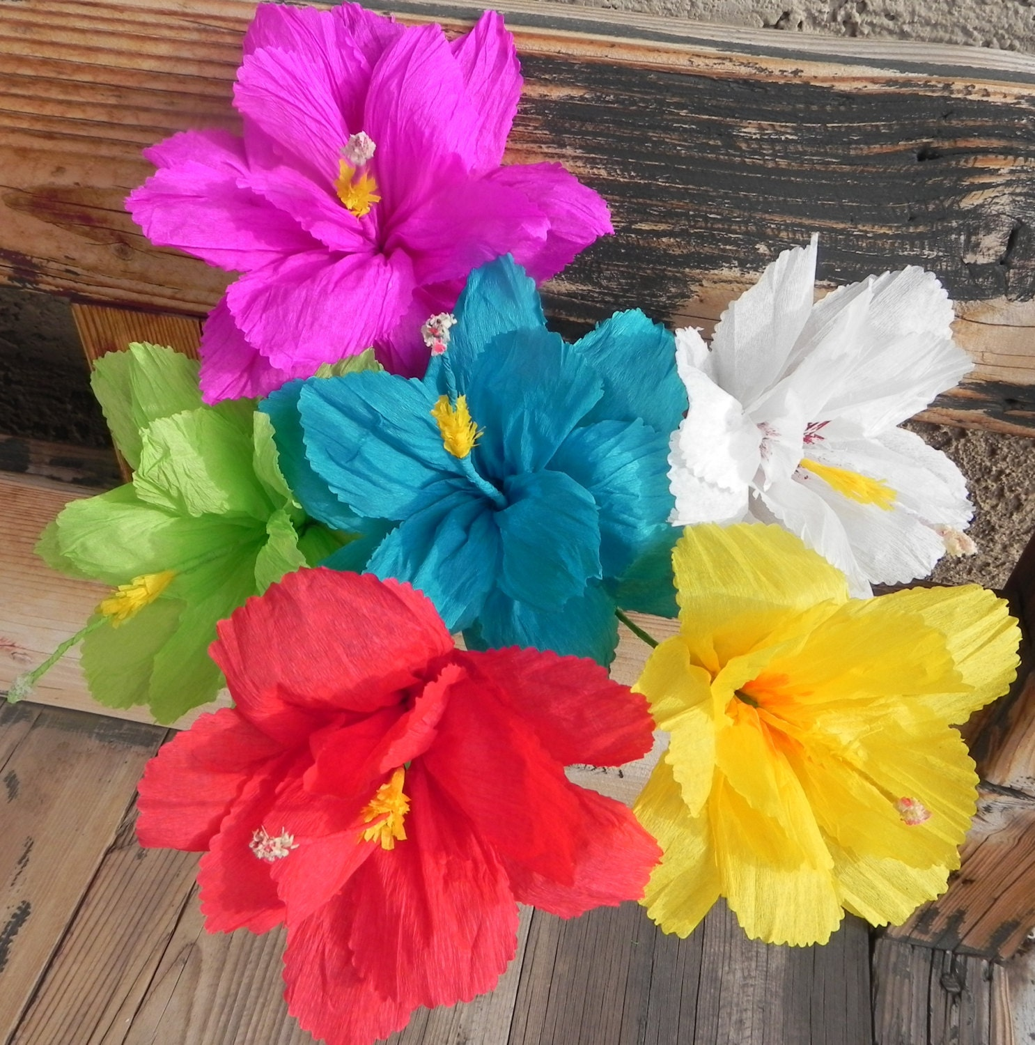 Mexican Paper Flowers Set Of 6 Hibiscus Flowers We Make Etsy