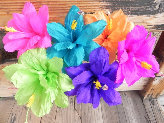 Mexican Paper Flowers Set Of 6 Hibiscus We Make Special Etsy