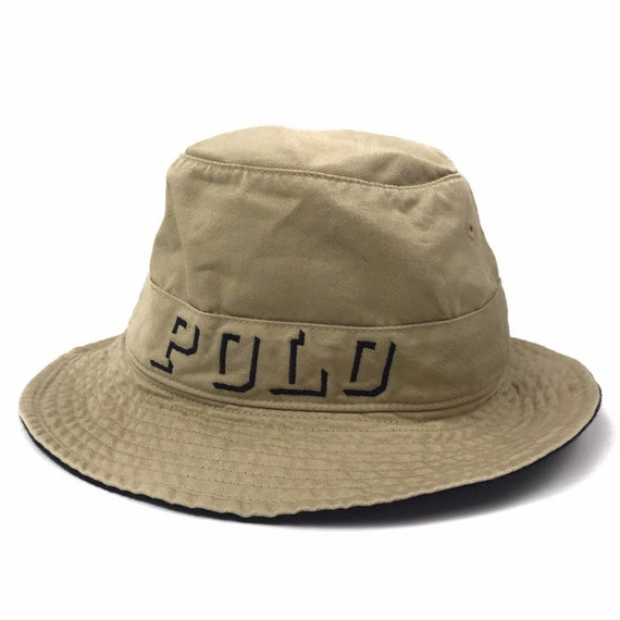 Vintage Polo Ralph Lauren Bucket Hat Khaki Small spell out  185f8470018