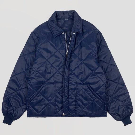 Vintage 1980s Quilted Work Jacket Large Navy Blue
