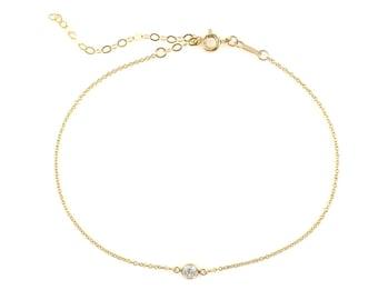 fbca457b0db Tiny CZ Diamond Ankle Bracelet Dainty Chain Simple Delicate Plain Thin  Minimal Boho Everyday Anklet | Sterling Silver or 14k Gold-Filled