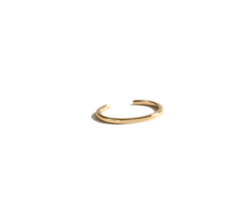Minimal Rectangle Bar Ear Cuff Non Pierced Open Adjustable Simple Delicate Cartilage Conch Ear Wrap Sterling Silver and 14k Gold Options