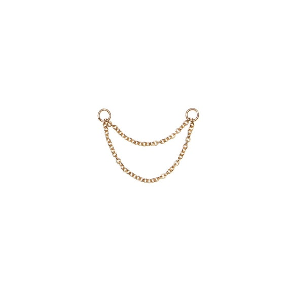 Front to Back Dainty Ear Charm Accessory for Earrings Convertible Dangle Braided Rope Chain 14K Solid Gold Earring Jacket