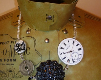 Statement clock face and crystal necklace