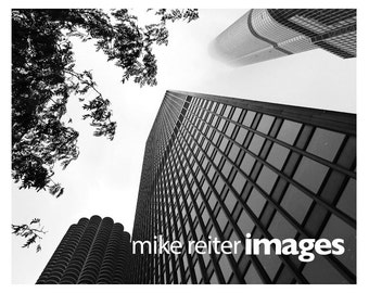Downtown Chicago Marina City Cityscape Photograph or Greeting Card Set Black & White Art Print