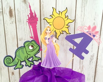 5 Piece Tangled Centerpiece, Tangled Birthday, Rapunzel Party Decor, Princess Decorations, Cake Topper, Centerpiece, Princess Party