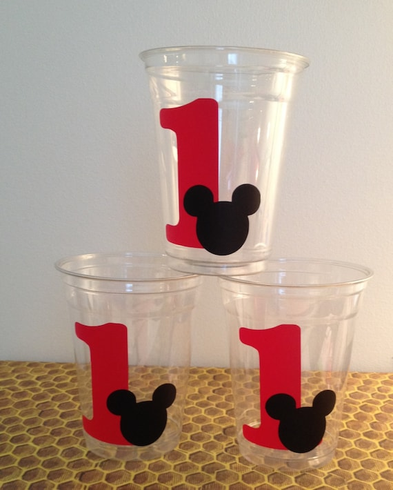 12 Mickey Mouse Vinyl Stickers DIY 1st Birthday