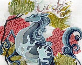 Licorne chinoise, Qilin impression du livre, mythes de légende (plusieurs tailles)