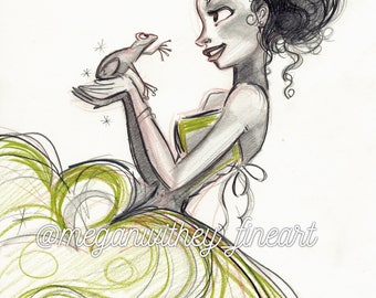 Princess and The Frog Fine Art Quality Print (Multiple Sizes)