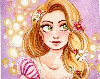 "Rapunzel 4x4"" Fine Art Quality Print on Lustre Paper."