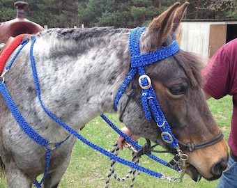 Horse Tack for Show, Paracord handmade horse tack set includes, Head stall, Breast collar, Wither Strap, Reins.