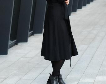 Black Wool Wrap Skirt, high waisted skirt, natural  black wool skirt for women, mid-calf skirt black, black circle skirt