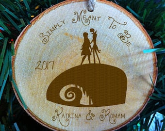 Nightmare Before Christmas Personalized Rustic Wood Slice Wedding Ornament