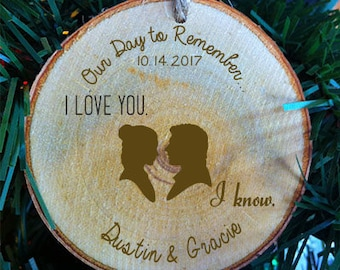 Star Wars Couples Personalized First Names I Love You I Know  Wood Slab Wedding Ornament Made in the USA