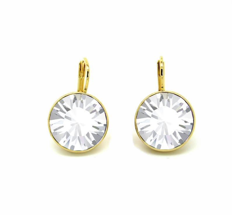 2abfb6c3ce8f2 Regular Round Bella Gold-Plated Crystal Earrings made with Genuine  SWAROVSKI Crystals