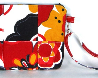 Colorful Japanese Style Floral Patchwork Wristlet / Small Purse / Handbag or Cosmetic Bag
