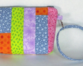 Colorful Floral Rainbow Patchwork Wristlet / Small Purse / Handbag or Cosmetic Bag