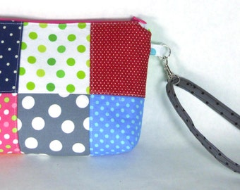 Colorful Polka Dot / Dotted Patchwork Wristlet / Small Purse / Handbag or Cosmetic Bag