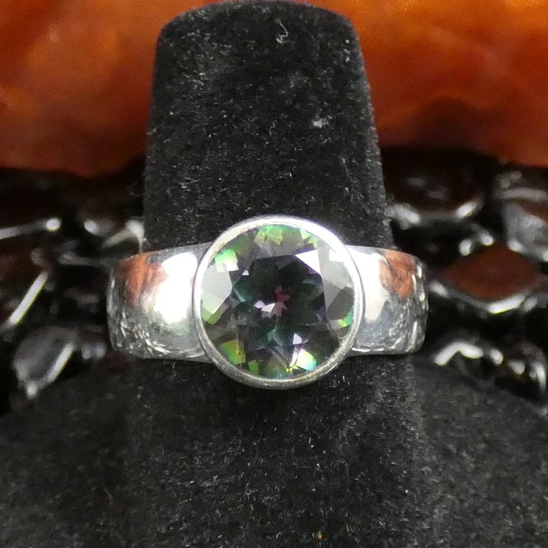 Faceted Mystic Topaz in Sterling Silver Ring Size 7-7.5