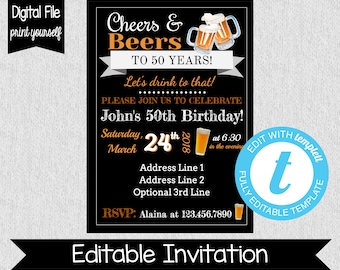 50th birthday invitations etsy cheers and beers to 50 years invitation 50th birthday invitation any age editable 30th birthday invitation 21st birthday beer filmwisefo